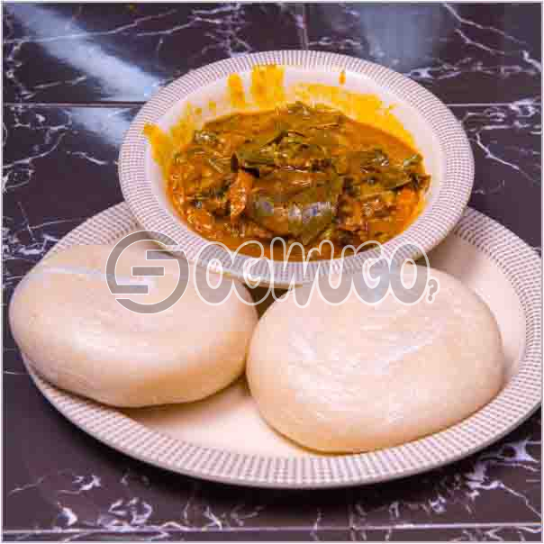 Two swallow with bitterleaf soup or with Either Egusi soup or with Ora/Oha soup and Two big meat. Get free water when you order for this item
