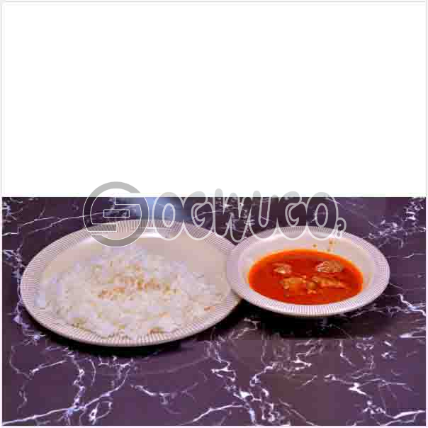 Tasty Delicious Hot White Rice and tomato stew or Ofe akwu stew With a well garnished two pieces of Beef. Get free water when you order for this item