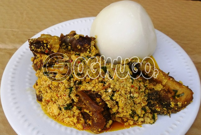 Two Hot swallow with Egusi Soup and one Big Delicious Piece of meat with one bottle of water. Please select swallow type and meat type when ordering