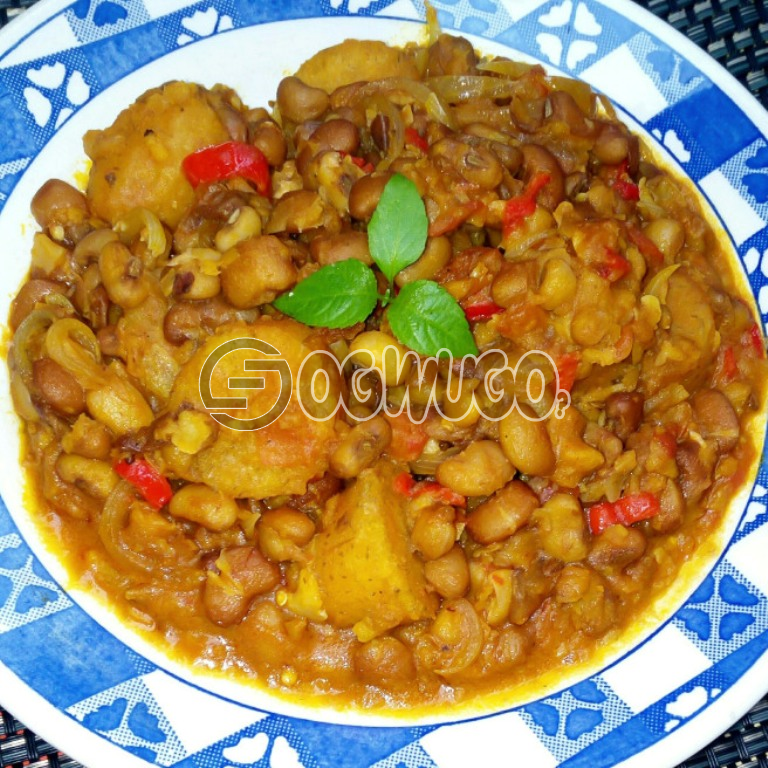 Delicious Porridge Beans and Plantain with Fresh Fish or Pork Meat, to give you maximum satisfaction and a fill of home made food