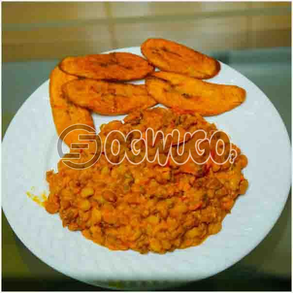 Tasty Delicious Beans and Fried Plantain neatly prepared with different fresh ingredient just the way you like it.