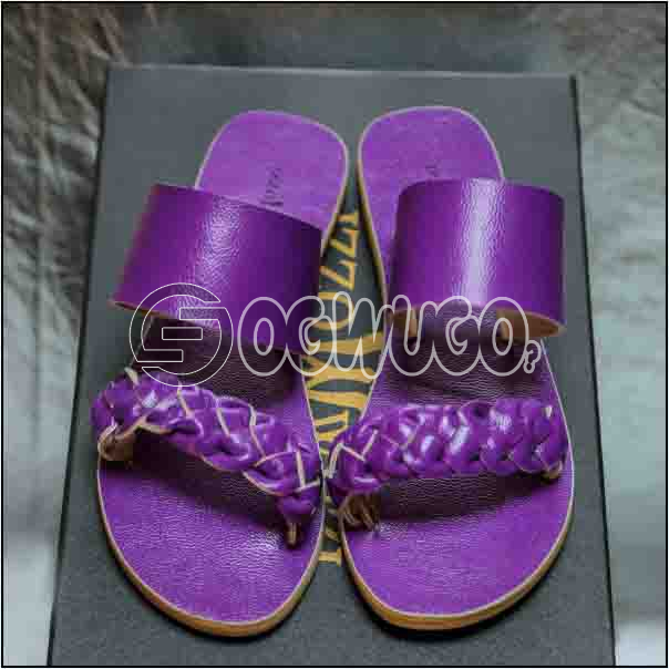 Izzowuzi Purple Women's Casual Double Strap Leather Slippers Available in Varieties of Colors