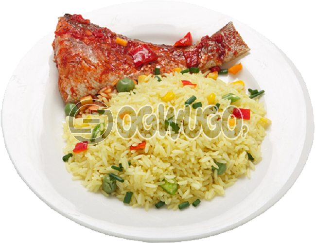 Hot Delicious savory fried Rice and Fish tail. It comes with well garnished fish Just the way you like. Get free water when you order for this item