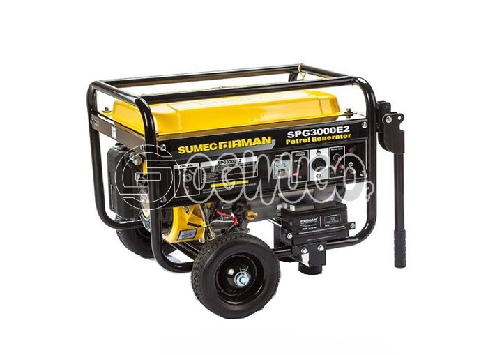 Sumec Firman SPG 3000E2 with battery and automatic key starter. 2.5KVA (2.5KW) generator offering key start, recoil start, built-in AVR, overload protection, oil alert system