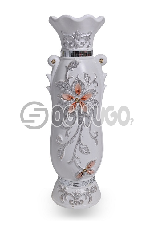 White antique vase.It is a unique flower vase,it gives your home or offices a different and attractive look.