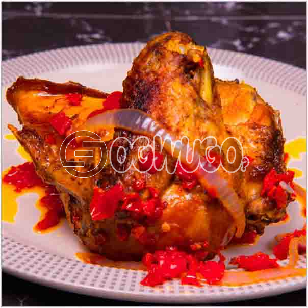 Well garnished and sauced tasty single chicken just the way you like it: unable to load image