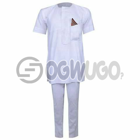 Oyenx Senator All white short Sleeve top and trouser. This takes  6 working days to be delivered (If your size is extra large, it will attract an additional N500)
