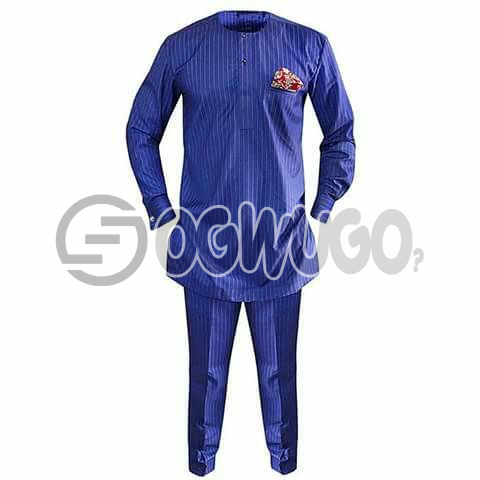 Oyenx Senator traditional stripe blue wear, Long Sleeve top and trouser. This takes  6 working days to be delivered (If your size is extra large, it will attract an additional N500): unable to load image