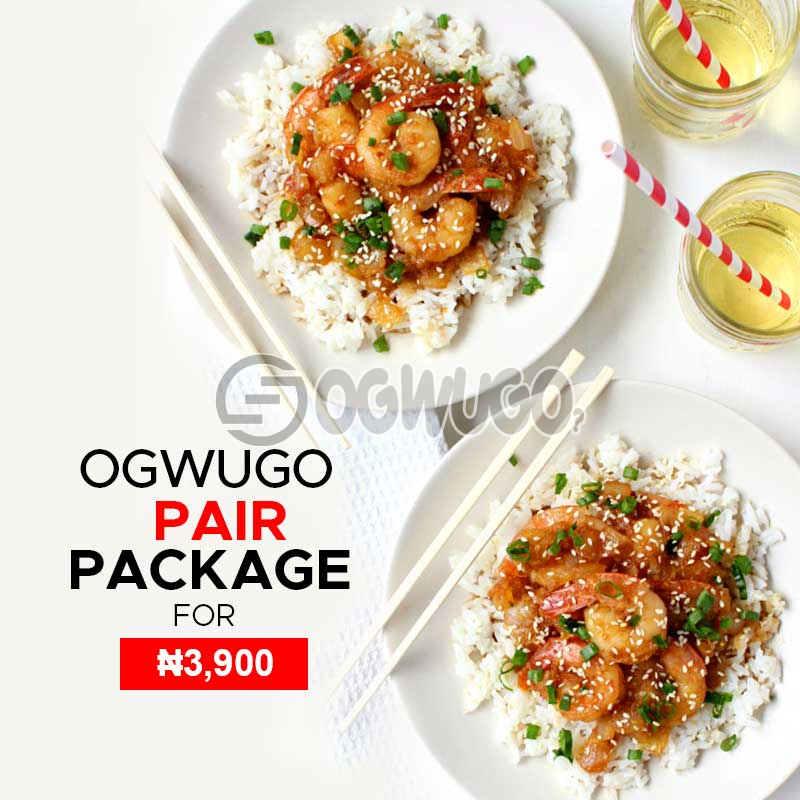 Ogwugo pair package for two individuals (once subscription for this package is made, we will start delivering food to you from the next day for 5 working days according to the food menu. Please  select your meal for the day below)