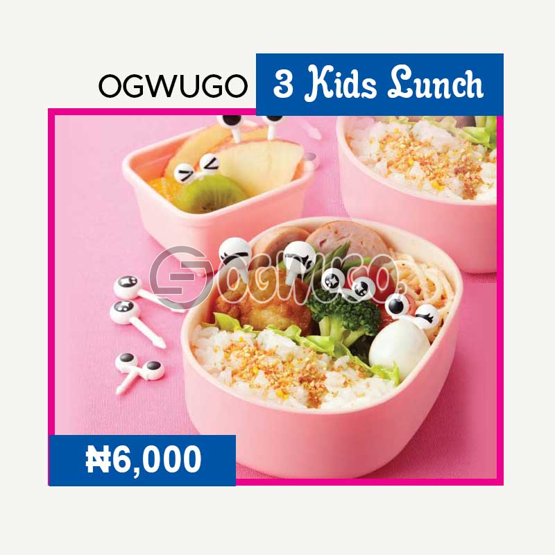 OGWUGO Kids lunch (for three kids) (Once subscription for this package is made, we will start delivering food to you from the next day for 5 working days according to the food menu. Please select your meal for the day below: unable to load image