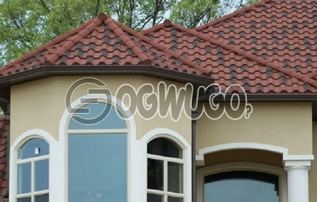 Rainbow Stone chip coated steel roof tiles. with unique designs Sold Per Square Meter.